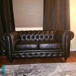Classic Scroll Arm Tufted Bonded Leather Chesterfield