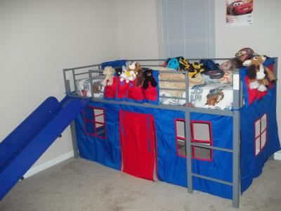 Boys Twin Loft Bed with Slide Grey and Blue Walmart