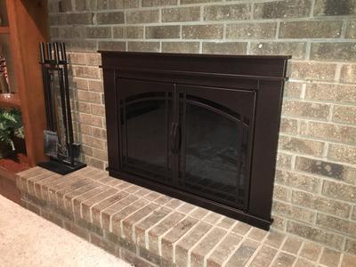 pleasant hearth farlane cabinet prairie arch style fireplace glass door oil rubbed bronze fa 5700 walmart