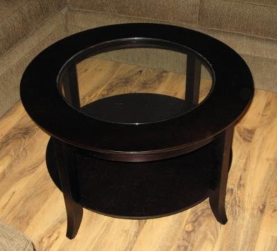 Winsome Wood Genoa Round Coffee Table with Glass Top Espresso