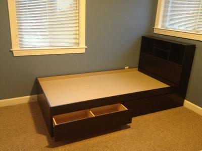 mainstays twin storage bed cinnamon cherry walmartcom
