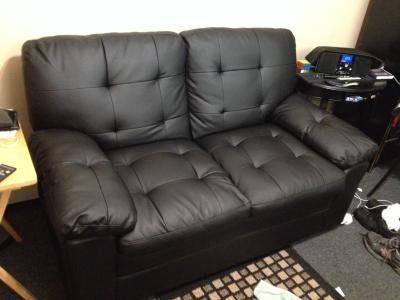 Mainstays Buchannan Love Seat Black Faux Leather Walmart Com