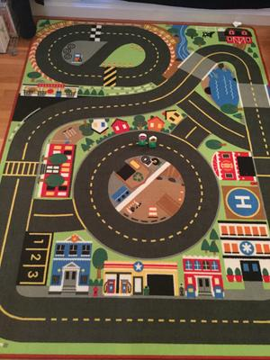 Melissa Doug Round The Rails Train Rug With 3 Linking Wooden Cars 39 X 36 Com