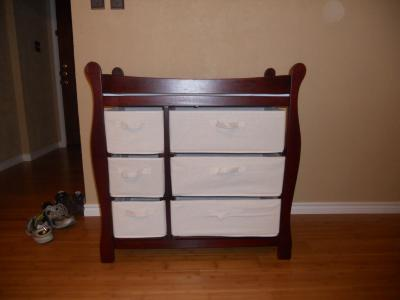 Badger Basket   Changing Table With Six Baskets, Cherry   Walmart.com