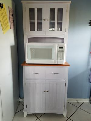 Home Source Brook White And Cherry Tall Microwave Cart With Storage    Walmart.com