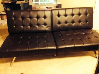 bentley black faux leather futon sofa bed w fold down tray for leather futons leather futons faux futon   roselawnlutheran  rh   roselawnlutheran org