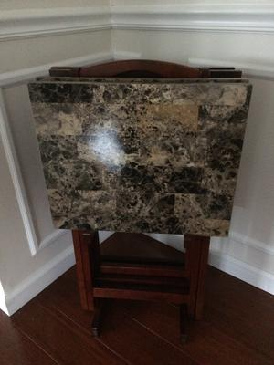 83 Linon Home Decor Tray Table Set Faux Marble Brown