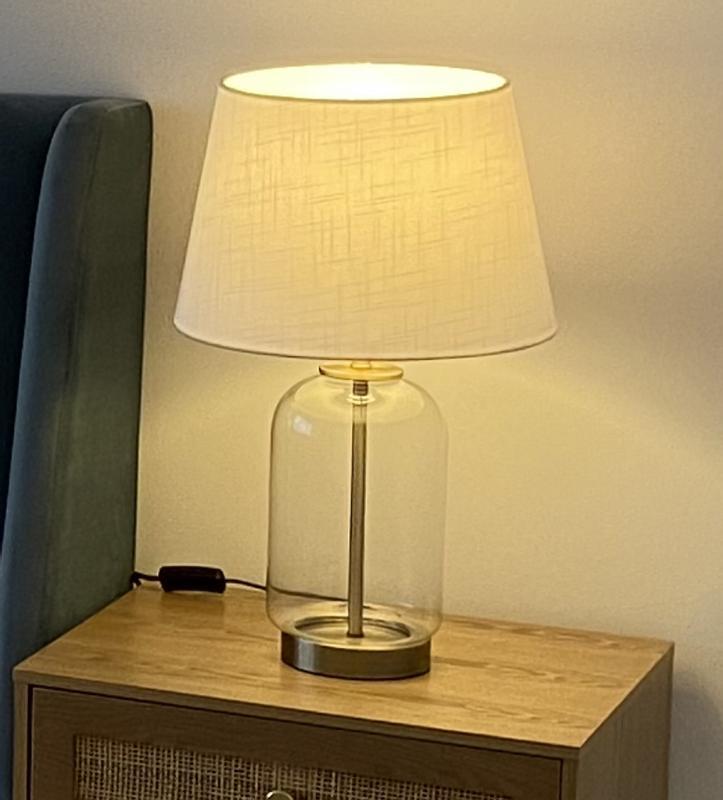 Wilko Clear Glass Brass Table Lamp, Copper Table Lamp Wilko