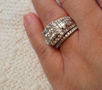 3 CT TW Quad PrincessCut Diamond Three Piece Bridal Set in 14K